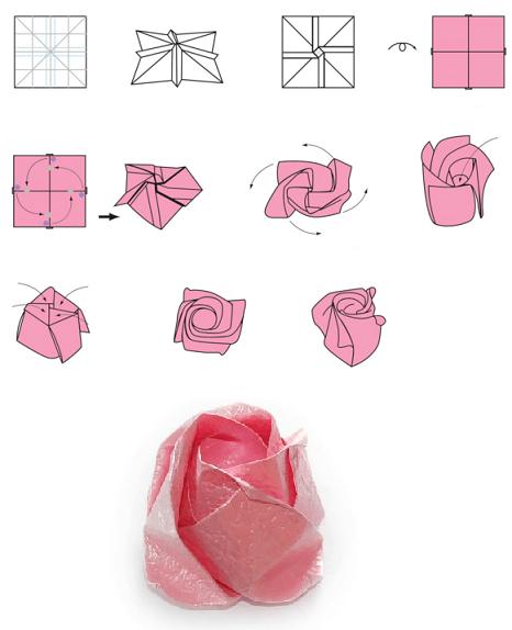 ORIGAMI MAWAR II Cara membuat bunga mawar | 574x466
